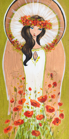 painted face: Beautiful angel with flowers hand painted on a wood. Stock Photo