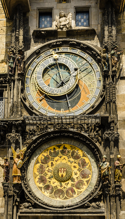 cronologia: Reloj astronómico. Praga. República Checa. Europa . Foto de archivo