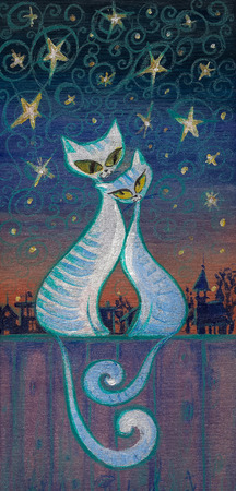 Hand painted picture of two cats in love hugging on a fence at night. Imagens