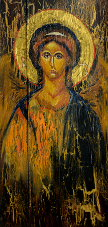 Hand painted picture of archangel Michael styled on the old orthodox icon.