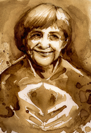 chancellor: 07 September, 2015: portrait of German Chancellor Angela Merkel.Picture created with coffee.