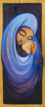 infant jesus: Madonna and infant Jesus painted on a wood.