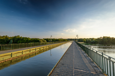 hydrological: Briare, France, Bridge-canal intersection with Loire river Stock Photo