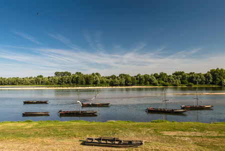 touraine: Traditional old boats on a Loire river,France.