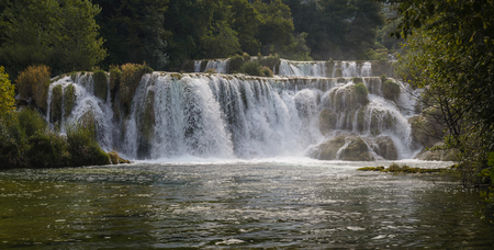 slap: Krka river waterfalls in the Krka National Park, Roski Slap, Croatia Stock Photo
