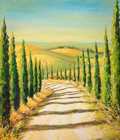 Tuscany: rural landscape with road,fields and hills.Picture created with acrylic colours.