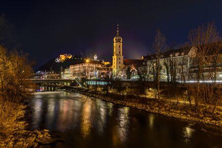 GRAZ, AUSTRIA - DECEMBER 24, 2015: Mur river and Franciscan Church with Christmas decoration in Graz, Austria.Old town of Graz  Editorial