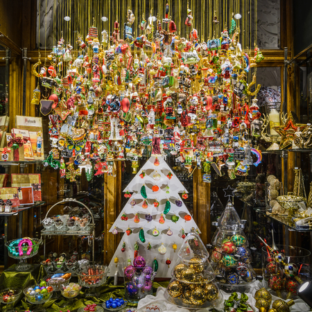 GRAZ, AUSTRIA - DECEMBER 24, 2015: Glass bulbs decoration display in window shop at Christmas in Graz, Austria.