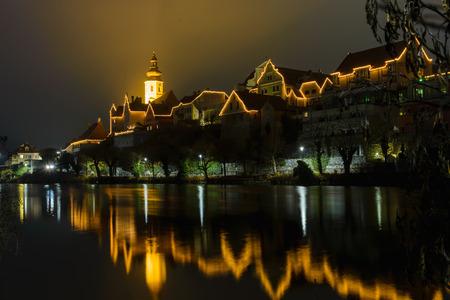 steiermark: Frohnleiten-small city above Mur river with Christmas illumination. Styria, Austria.