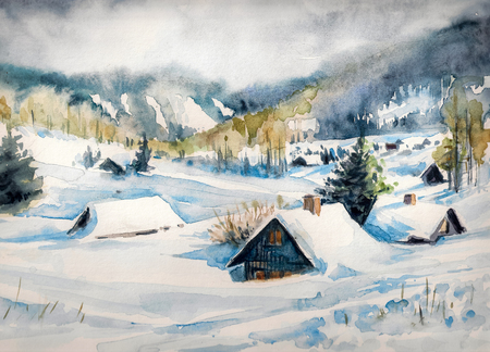 article: Winter landscape with mountain village covered with snow. Picture created with watercolors on paper.