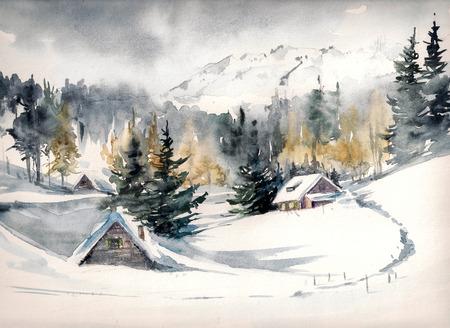 montañas nevadas: Paisaje invernal con pueblo de montaña cubierta de nieve. Imagen creada con acuarelas sobre papel. Foto de archivo