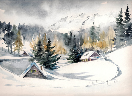 snow covered mountains: Winter landscape with mountain village covered with snow. Picture created with watercolors on paper.