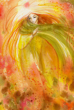 scanned: Abstract watercolor illustration depicting a portrait of a woman-autumn Stock Photo