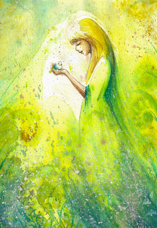 artist: Abstract watercolor illustration depicting a portrait of a woman-spring