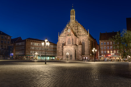 hauptmarkt: NUREMBERG, GERMANY - Juni 4, 2015: Street view with the Frauenkirche church inNuremberg, the second-largest city in Bavaria, Germany.