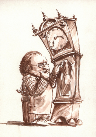 watchmaker: Retro style illustration of Watchmaker examining the old clock.Picture painted with watercolors on paper. Stock Photo