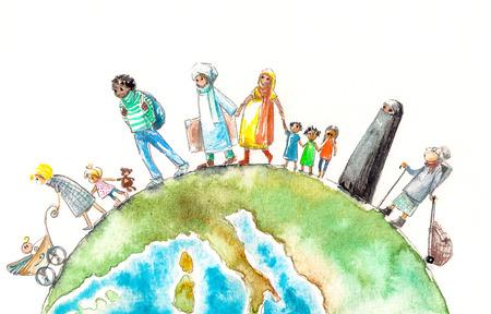 Illustrazione di persone diverse nazionalità in corso e Earth.Picture creato con gli acquerelli.