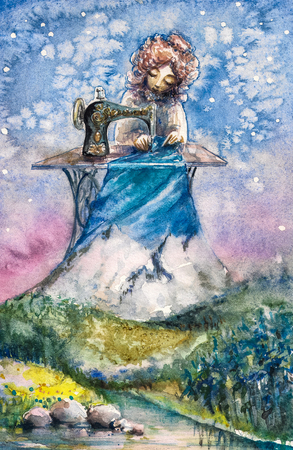 seamstress: Mrs. Nature as the seamstress working with her new textile.Picture created with watercolors. Stock Photo