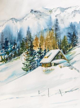 Paesaggio invernale con villaggio di montagna coperta di neve. Immagine creato con gli acquerelli su carta.