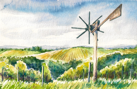 Watercolor painted illustration of the Styrian Tuscany Vineyard with windmill -klapotetz in foreground, Austria