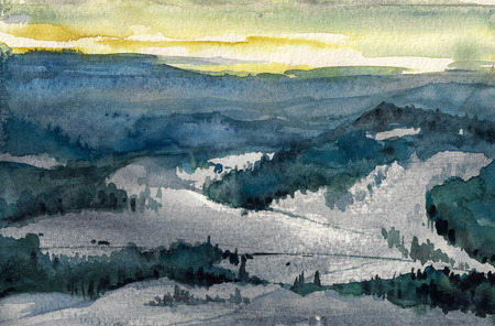 article: Watercolor illustration of winter mountains landscape.