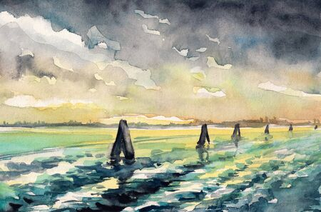 mooring: Venetian lagoon at sunset painted by watercolors on paper.