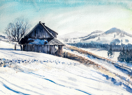 tranquil scene: Winter landscape with small house in mountains watercolor painted. Stock Photo