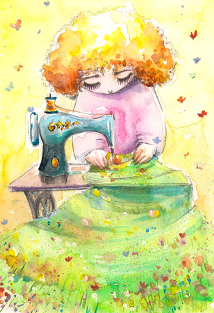 seamstress: Mrs. Nature as the seamstress working on her new textile. Picture created with watercolors. Stock Photo