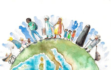 Illustration of people different nationalities going on and Earth.Picture created with watercolors. Stock Photo