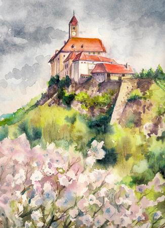 steiermark: Watercolors illustration of spring landscape with castle Riegersburg, Styria, Austria.
