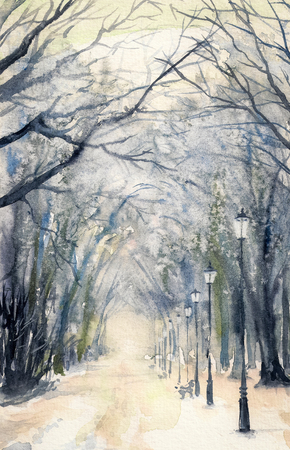 tranquil scene on urban scene: Watercolor painting showing a footpath in a winter city park. Stock Photo