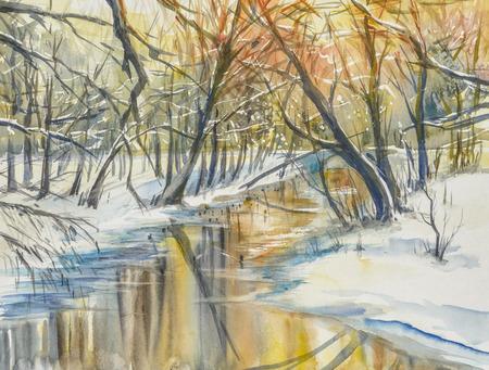 Aquarel schilderen van winterlandschap: rivier in fores tijdens zonsondergang.