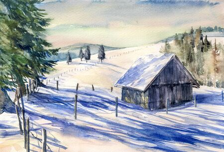article: Winter landscape with small house in mountains watercolor painted