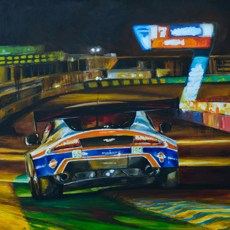 bolide: Hand painted picture of racing car driving at night with high speed in circuit. Illustration created with acrylic