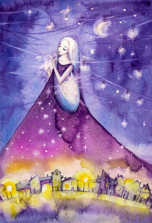 woman back: Night hanging stars on the sky.Picture created with watercolors. Stock Photo