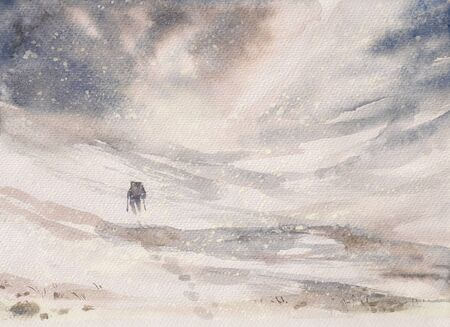 solstice: Man hiking in mountains during winter snowy blizzard.Picture created with watercolors.