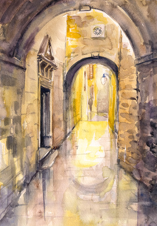cobblestone street: Old street with gate in Sibenik Croatia.Picture created with watercolors.