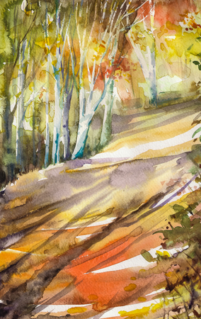 depicted: Watercolor painting depicted autumn road in forest.