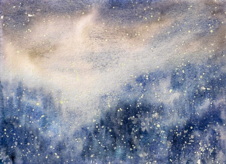 winter solstice: Abstract texture snowy winter blizzard watercolor painted. Stock Photo