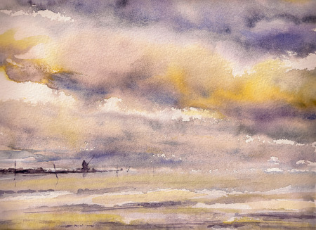 dramatic sky: Watercolors painting of a fisherman on the rocks under drmatic sky.