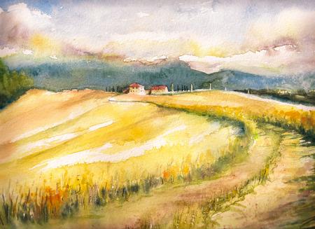 イタリアの典型的なトスカーナの丘の国の風景。水彩画。