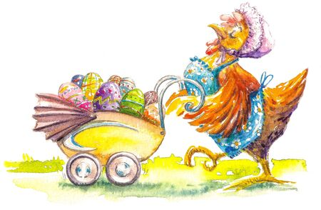Proud Hen with stroller full of colorful Easter eggs. Picture created with watercolors