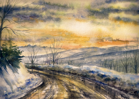 article: Winter landscape with road in mountains. Picture created with watercolors on paper.