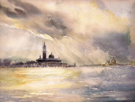 historical romance: Venice, Italy at sunset.Picture created with watercolors.