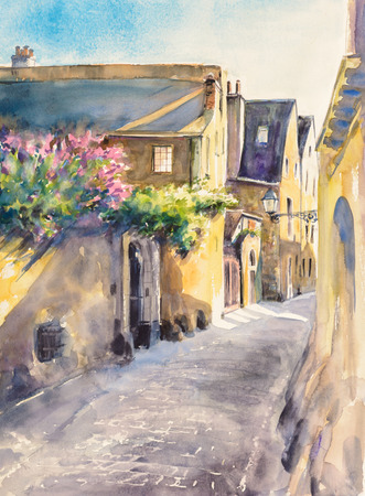 narrow: Small, narrow street in the old city of Le Mans, France. Picture created with watercolors.