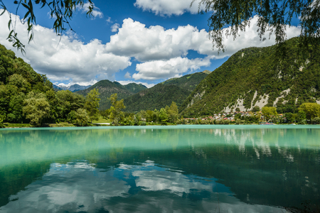 turquise: Turquoise water in the river Soca in Most na Soci town, Slovenia.