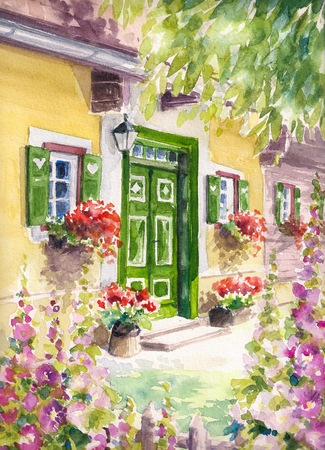 Main entrance to a house with green door and flowers.Picture created with watercolors. Stock Photo