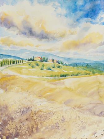 Paesaggio del paese con le tipiche colline toscane, in Italia. Acquerelli pittura.