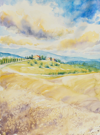 tuscan: Country landscape with typical Tuscan hills in Italy. Watercolors painting.