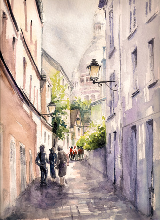 edifice: Paris street.Picture created with watercolors.